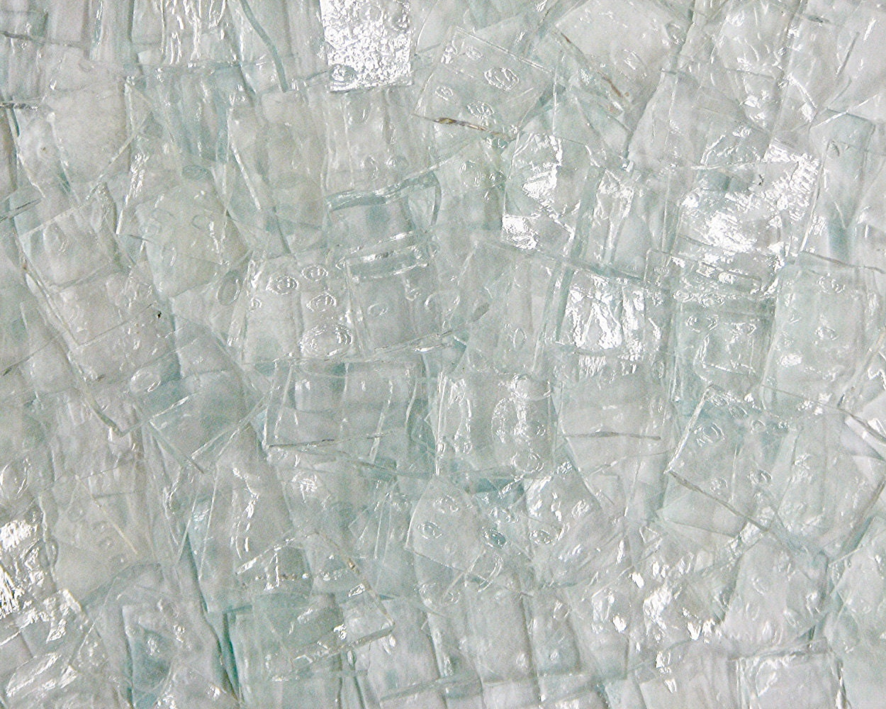 Crystal Clear Glass Tile 200 Handcut Textured Wavy And