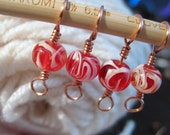 Jolly Roger Cherry Candy - Knitting Stitch Markers- Set of 4 - Fits up to Size 10 Needle