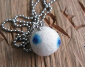 SnowWhite and Blue Dotted Felt Ball Necklace - Handmade