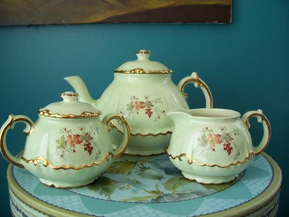 Soft Sage Green Tea Set Circa 1960's 1970's