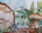 REDUCED Mouse in the Forest Original Watercolor 9x12