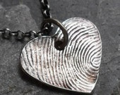 Fingerprint Necklace Heart Shape - Fine Silver Charm on Sterling Silver Rollo Chain