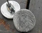 Fingerprint Earrings in Fine Silver with Sterling Silver Posts