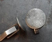 Fingerprint Cufflinks in Fine and Sterling Silver Made to Order Personalized
