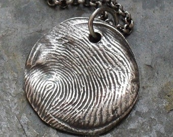 Thumbprint or Fingerprint Necklace Custom in Fine and Sterling Silver - Made to Order