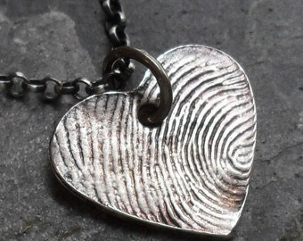 Thumbprint or Fingerprint Heart Necklace Custom Fine and Sterling Silver