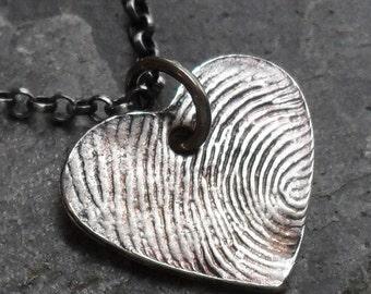 Fingerprint Necklace Heart Shape -1 Charm Fine Silver on Sterling Silver Rollo Chain
