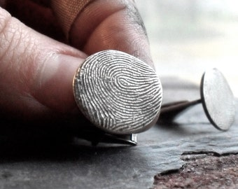 Fingerprint Cufflinks in Fine and Sterling Silver Made to Order