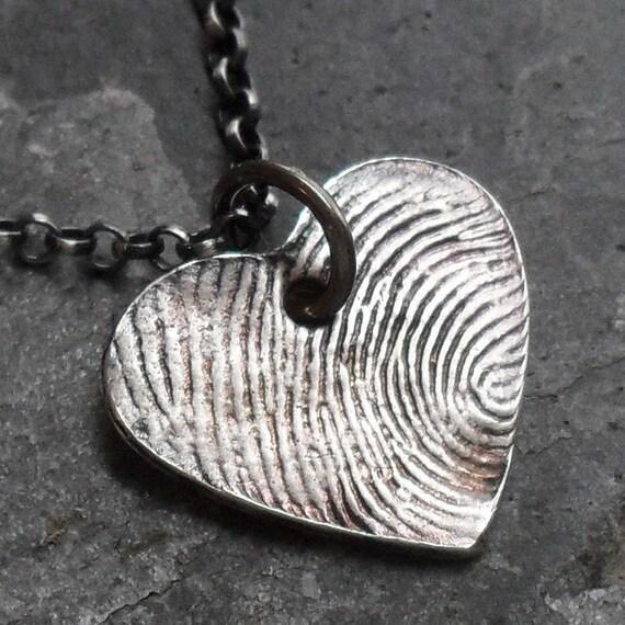 Heart Fingerprint Necklace - Fine Silver Charm on Sterling Silver Rollo Chain