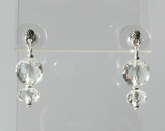 Rock Crystal Silver Dangle Earrings - Sparkling