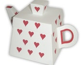 5 Large Heart Teapot Favor Boxes (custom colors available)