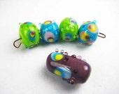 Assorted Peacock Poppy Dot Artisan Lampwork Beads