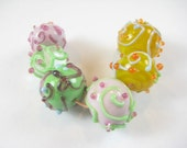 Random Scrolls and Dots Artisan Lampwork Beads