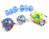 Spring Posy Assortment - 3 floral lampwork beads and 6 spacers