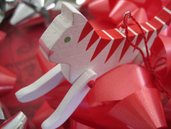 Jointed Candy Cane Striped Kitty wooden ornament