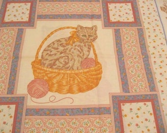 Cats with Yarn Balls Fabric - Perfect for Pillows and Wall Hangings