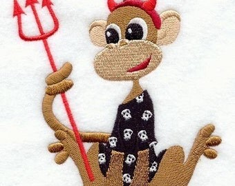12 x 12 Hemstitched Embroidered Pillowcase - Halloween Monkey in Pajamas