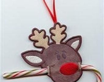 Rudolph Candy Cane or Pencil Holder Ornament