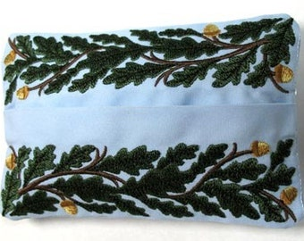 Hearty Leaves and Acorns Embroidered Tissue Holder