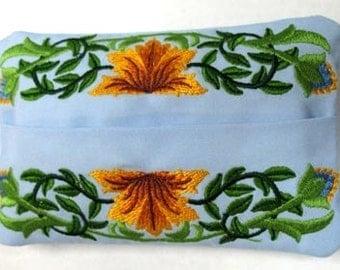 Bursting Blossoms Embroidered Tissue Holder