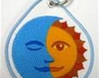 Sun and Moon Embroidered Keychain