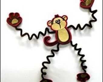 Movin' Monkey Embroidered Magnet