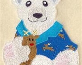 12 x 12 Hemstitched Embroidered Pillowcase - Paddy Polar Bear in Pajamas