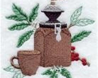2 Coffee Botanical Embroidered Terry Cloth Towels