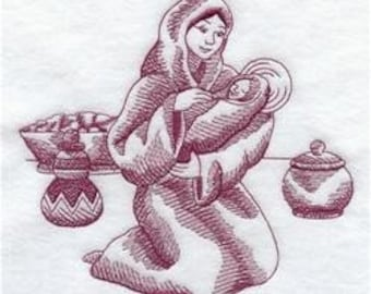 2 Mother and Child Scene Embroidered Terry Cloth Towels
