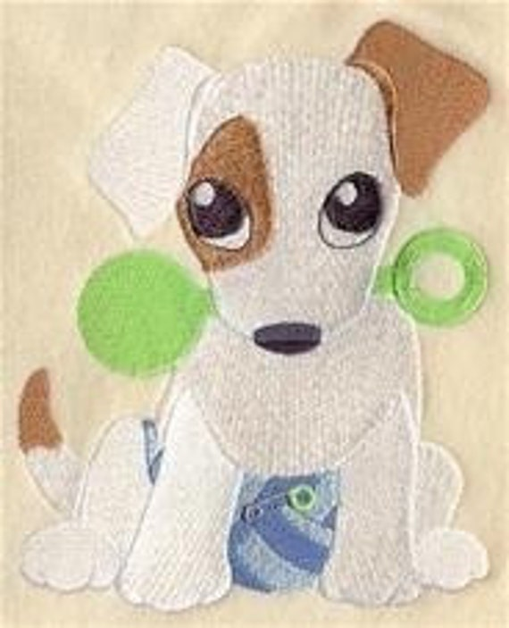 12 x 12 Hemstitched Embroidered Pillowcase - Puppy in Pajamas