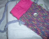 Beautiful hand-knitted Shoulder-bag in Purples.