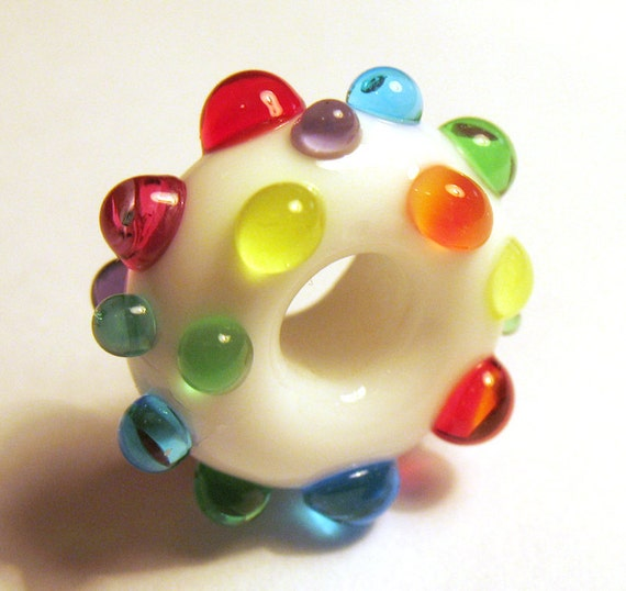 Lampwork pandora bead Disco bead by GlasSmile in white with colorful dots
