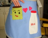 Women's Kawaii Apron Coffee Loves Milk Apron Funky Apron