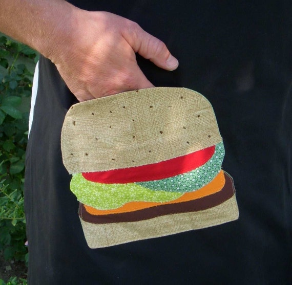 Mens BBQ Chefs Apron with appliqued Cheeseburger Pocket