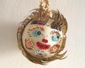 Vintage Christmas Ornament Foil Sequin Face Ball Handmade Decoration