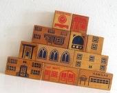 Vintage Wooden Blocks Architectual City Toy Lot