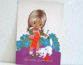 Vintage 1970s Postcard Girl Knitting Dutch Birthday card Unused