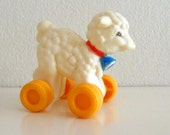 Vintage Lamb Pull Toy Miniature - RESERVED FOR CHERYL