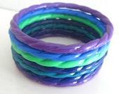 7 Vintage Bangle Bracelet Lot Twisted Plastic Purple Blue Mix