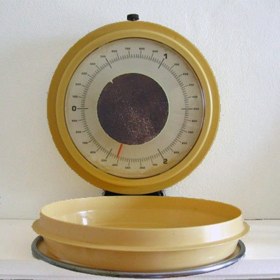 Vintage Hanging Kitchen Scale: Vintage Brabantia Kitchen Scale Yellow Wall Hanging RESERVED