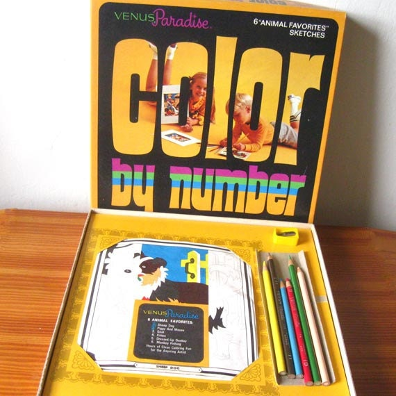 Colour By Number Kits : Vintage Color by Number Toy Art Kit Venus Paradise Animal