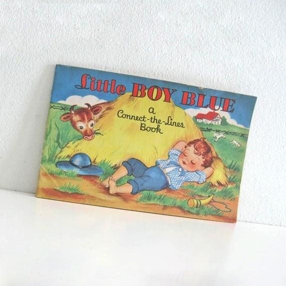 Vintage Childrens Coloring Book 1950s Little Boy Blue Connect