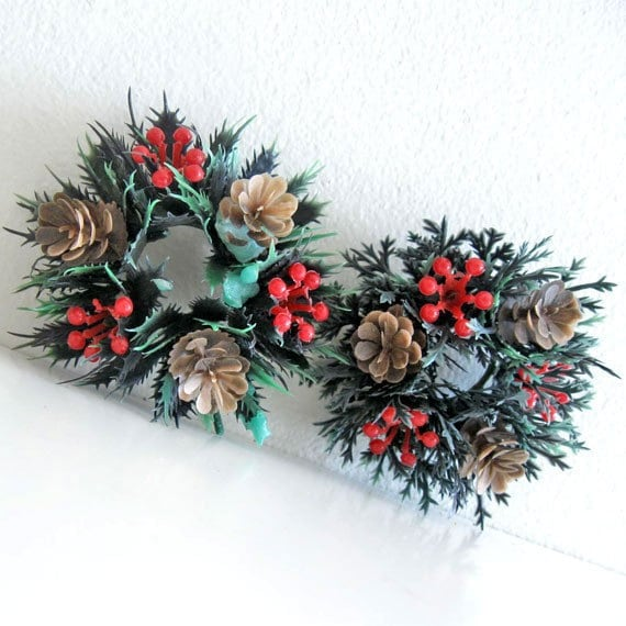 2 Vintage Christmas Decor Candle Ring Wreaths Plastic berries and pine cones