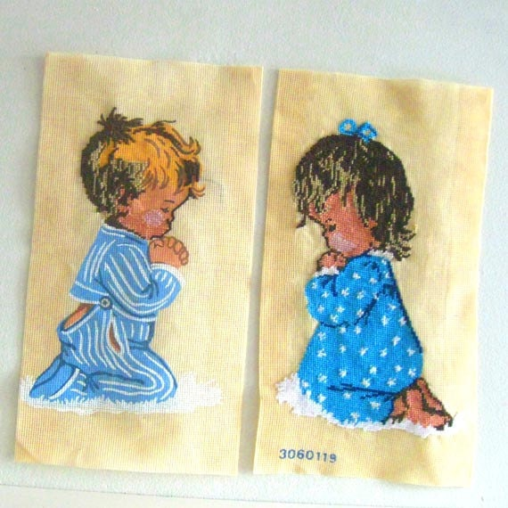 2 Vintage Needlepoint Canvas Praying Children Boy Girl Preworked Embroidery - RESERVED FOR SHIR