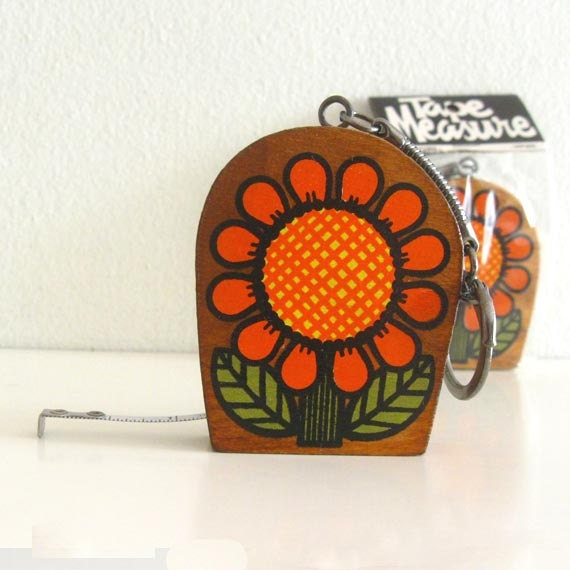 Vintage Measuring Tape Measure Wooden Key Chain Flower Power