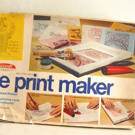 Vintage Screen Printing Press Machine Skilcraft Print Maker 1970s Rare
