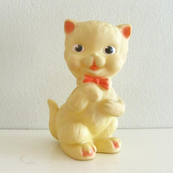 Vintage Rubber Squeaky Toy Animal Plastic Cat