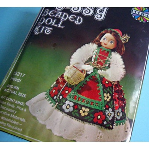 vintage lil beaded doll kit heidi doll by modandmint