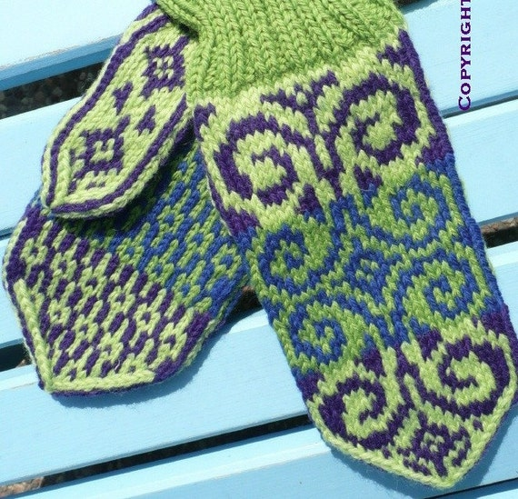 Emilia mitten PATTERN, Offered in both English and Norwegian text