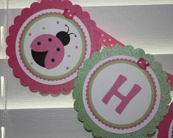 Ladybug Birthday Banner / Sweet Ladybug Banner / Pink Ladybug Banner / Ladybug Birthday Party / Ladybug Banner / Ladybug Baby Shower